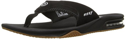 Reef Men's Fanning Speed Logo Sandal, Black/Silver 11 M US