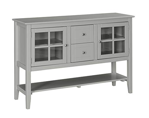 Ravenna Home Sara Rustic Storage TV Media Entertainment Console Stand, 53 W, Grey