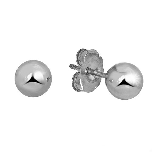 14k Real White Gold Stud Ball Earrings W/Gold Friction Backs - 5 mm