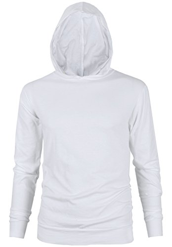MAJECLO Mens Lightweight Cotton Pullover Long Sleeve Hoodie Sweatshirt(X-Large,White)