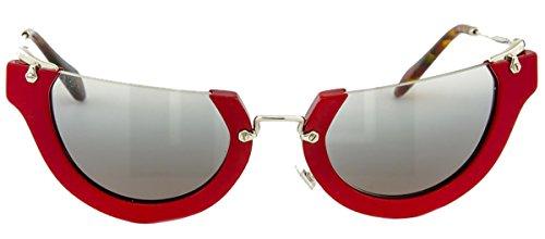 MIU MIU WINK MU11QS Cat Eye Rasoir Red Silver Sunglasses Women SMU - Miu Glasses Rasoir Miu
