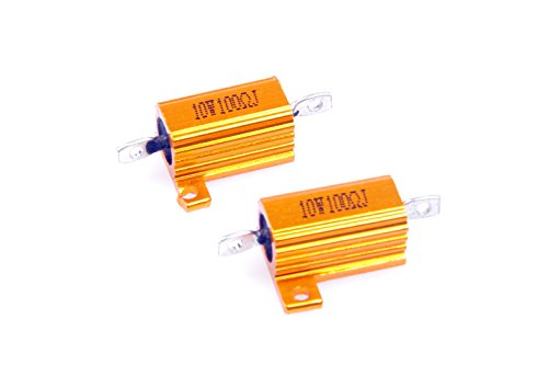 LM YN 10 Watt 100 Ohm 5% Wirewound Resistor Electronic Aluminium Shell Resistor Gold for Inverter LED lights Frequency Divider Servo Industry Industrial Control 2-Pcs 10w Resistor Electronic Parts