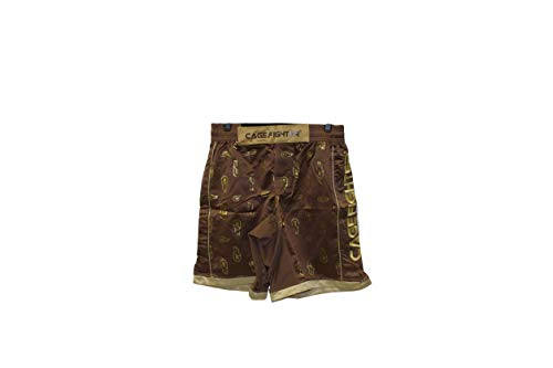 Cage Fighter - Brown Shorts with Gold Trim, 34
