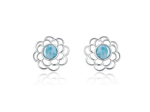 Sterling Silver Larimar Stud Earrings Flower Shape Larimar Jewelry Natural Genuine Blue Classic Fashion Handmade Larimar Gemstones Earrings for Women and Girls