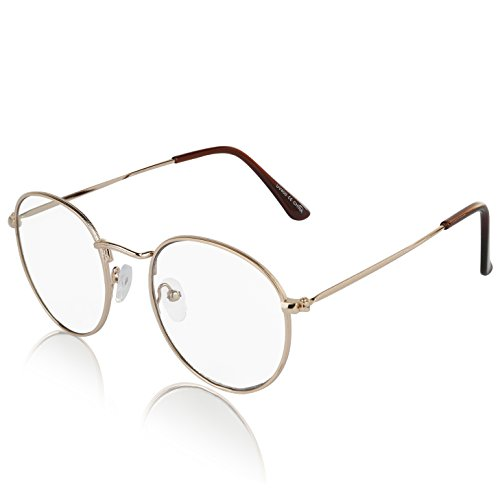 Retro Round Fake Glasses Clear Lens Gold Metal Frame Eyeglasses For Women and - Glasses Big Face