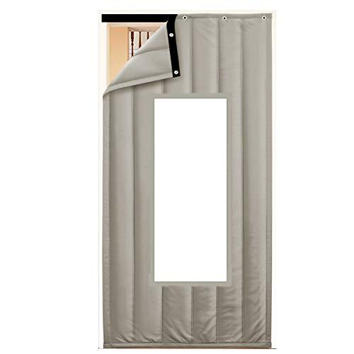 JIANFEI Door Curtain Winter Keep Warm Thicken PU,2 Colours 18 Size Customizable (Color : B-gray, Size : 180x300cm)
