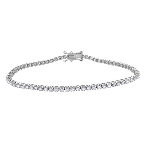 1.00 Carat Natural Diamond Bracelet 10K White Gold (G-H Color, I3 Clarity) Stylish Diamond Tennis Bracelet for Women Diamond Jewelry Gifts for Women