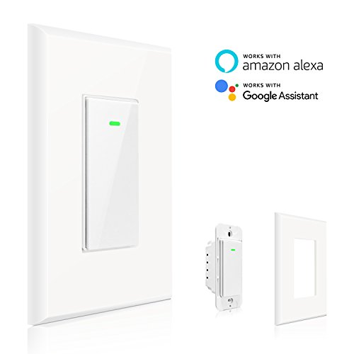 15a Remote (Maxcio Smart Wi-Fi Light Switch, No Hub Required, Compatible with Amazon Alexa and Google Assistant, Remote Control/Schedule Your Fixtures Anywhere - 15A (Neutral Wire Required))