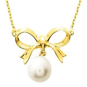 So Chic Bijoux © Collier Femme Chaîne 42 cm Nœud Ruban & Perle Eau Douce 8 mm Crème Ivoire Or Jaune 750/000 (18 carats)