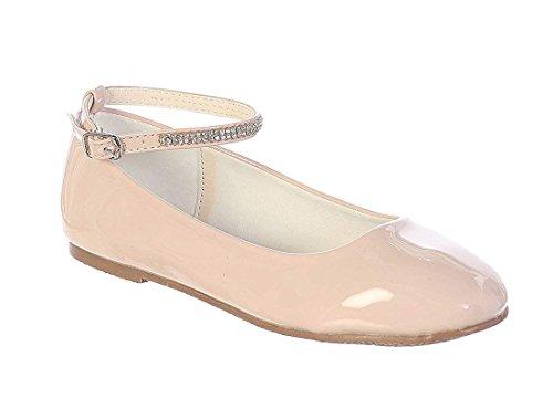 Blush Little Girls Patent Rhinestone Ankle Strap Flats Dress Shoes Size 2 Youth