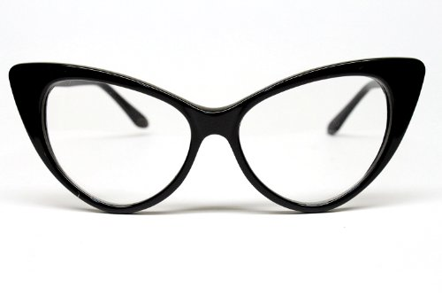 Vintage Cat Eye Clear Sunglasses Eyeglasses Womens Black E16 -