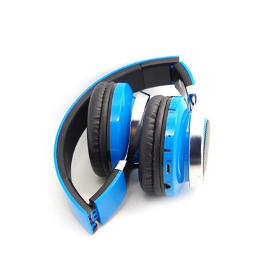 Wearing a Bluetooth headset wire folding Mike call TF Card ,blue