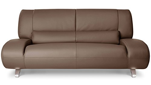 Zuri Furniture Brown Aspen Leather Sofa Set With Loveseat And Chair