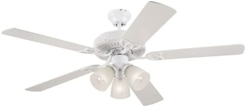 Westinghouse Vintage Three Light 52 Inch Five Blade Ceiling Fan White With Frosted Ribbed Globes 78627 Amazon Com