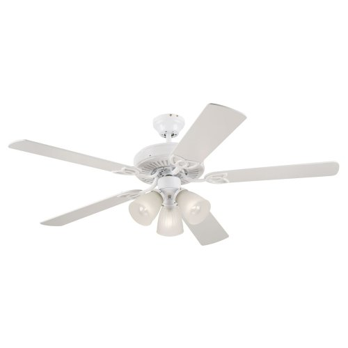 (Westinghouse Vintage Three-Light 52-Inch Five-Blade Ceiling Fan, White with Frosted Ribbed Globes#78627)