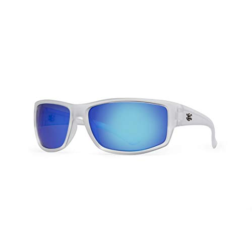 Calcutta Rip Sunglasses, Crystal Frame/Blue Mirror Lens