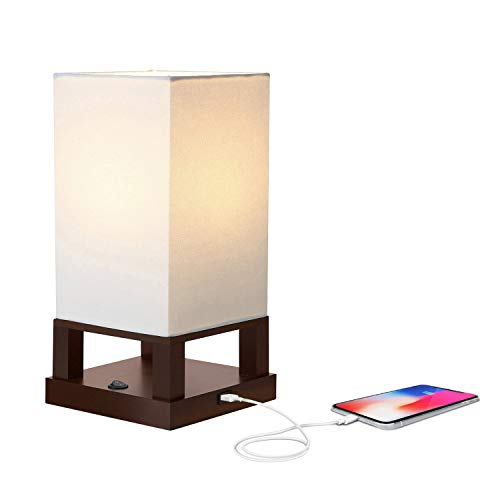 - Brightech Maxwell - Bedroom Nightstand Lamp with USB Ports - Modern Asian Table Lamp w/Wood Frame - Soft Light Perfect for Bedside - with LED bulb - Havanah Brown