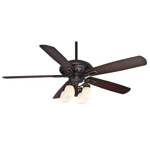Casablanca Fan Company 59537 Holliston Gallery 60-Inch Basque Black Ceiling Fan with Five Reclaimed Antique Blades with a Light Kit (Bullion Black Finish)