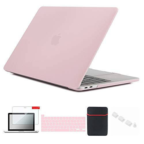 Se7enline MacBook Pro 2020 Case 13 inch Plastic Hard Shell Laptop Cover for MacBook Pro 13-inch Model A2338/A2251/A2289 with Sleeve Bag, Keyboard Cover, Screen Protector, Dust Plug, Rose Quartz