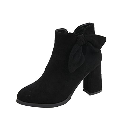 Boots With Heels Winter New Heels Boots Martin The Thick Black Hollow And Pointed Bow Boots High MDRW Female vqW7n6c