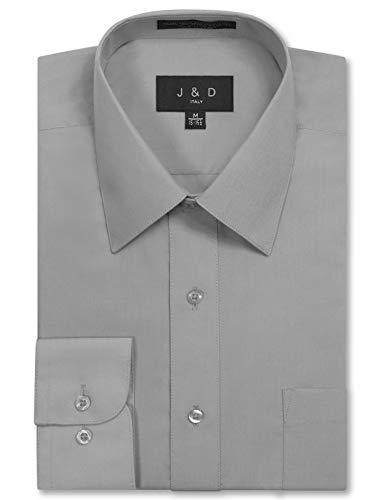 (JD Apparel Men's Long Sleeve Regular Fit Solid Dress Shirt 17-17.5 N 36-37 S Light Grey,X-Large)