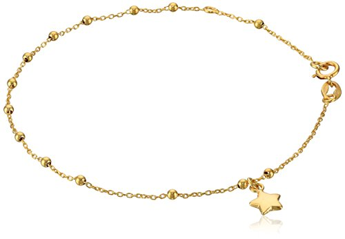 14k Yellow Gold Italian Station Beaded Star Charm Bracelet, 7'' by Amazon Collection