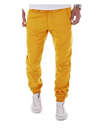 Automne Pantalon Printemps Style Avec Sport Unie Gelb Crystallly Extérieur Couleur Décontracté Jogging Poches Homme Simple De UwxtcHpq
