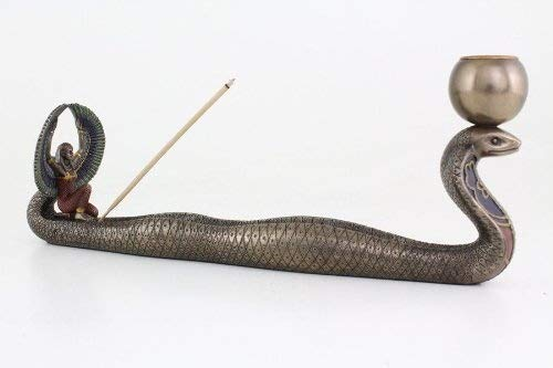 Isis and Cobra Incense and Candle Holder Statue Sculpture Figurine (Candle Sculpture)
