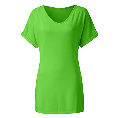 - TIANMI Women Baggy Oversized Loose Fit Turn up Batwing Sleeve Ladies V Neck Top T Shirt Green