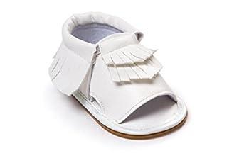 C&H 2016 Summer Unisex Infant Baby Tassels Leather Soft Anti-Slip Prewalker Toddler Shoes (11cm/4.25in, White)