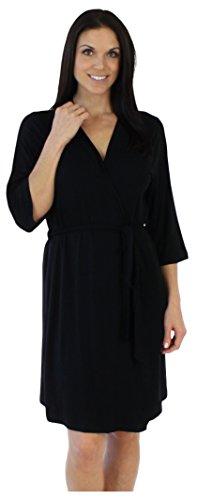 bSoft Solid Black Short Robe (Bamboo Kimono Robe)