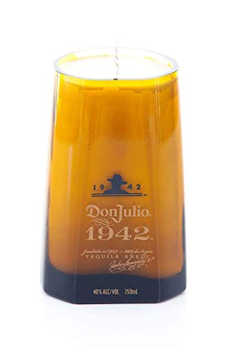 (DON JULIO 1942 Tequila Soy Candle- Cut Bottle Re-purposed Recycled Liquor)