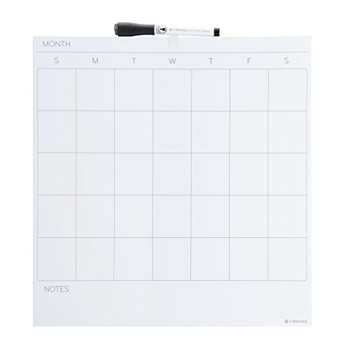 U Brands Square Frameless Magnetic Dry Erase Calendar, 14 x 14 Inches, White ()