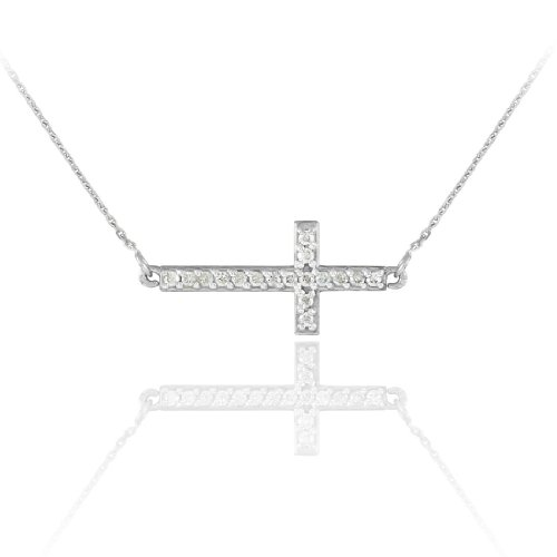 (14k White Gold Diamond-Studded Sideways Cross Necklace (16 Inches))