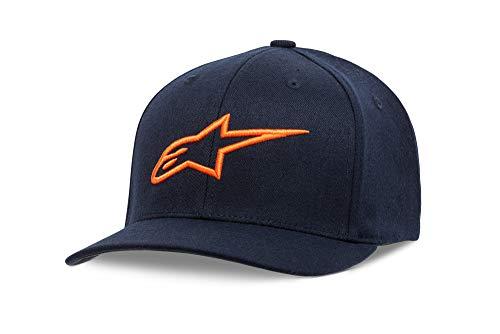 (Alpinestars Men's Logo Flexfit hat Curved Bill Structured Crown, Ageless Navy/Orange, S/M )