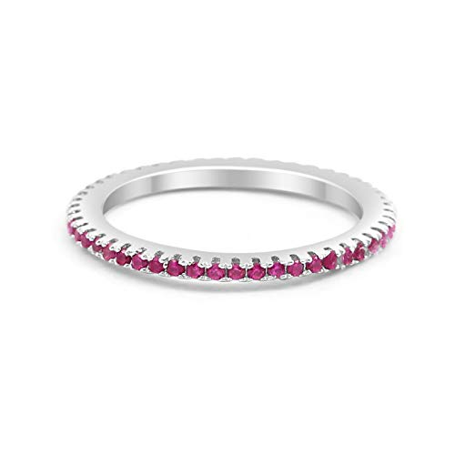 Thin 1.5mm Stackable Full Eternity Wedding Engagement Band Ring Round Simulated Ruby 925 Sterling Silver, Size-8