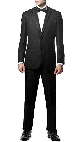 (Ferrecci Men's TX100 Black Slim Fit 2pc Tuxedo - 42R)