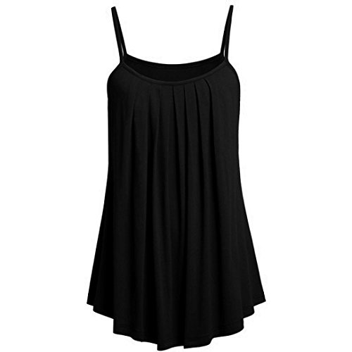 Front Dotted Dress (iTLOTL Summer Women Loose Camisole Ladies Solid Color Tank Tops Plus Size(US:14/CN:XXXL, Black))