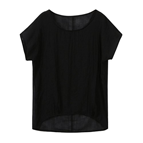 iDWZA Womens Bat Short Sleeve Casual Loose Top Blouse T-Shirt Pullover(2XL,Black)