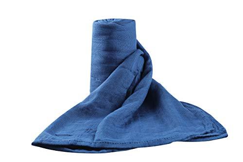 Muslin Swaddle Blankets with Organic Muslin Bamboo, Single, Blue, by Upstreet