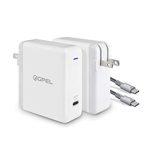 GPEL USB C Charger with 61W Power Delivery QC 3.0 Fast Charger, Compatible for MacBook Pro Nintendo Switch Google Pixel 3 XL PixelBook Galaxy S10e S10 S10+ S9 S9+ Note 9 Note 8 Other Type C Devices
