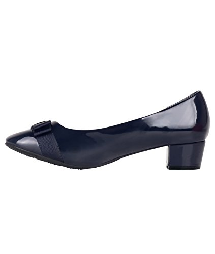 Work Block Courts Womens Patent Low Ballerina Bow Heel Ladies Pumps Navy Party Shoes HFxxqT6A