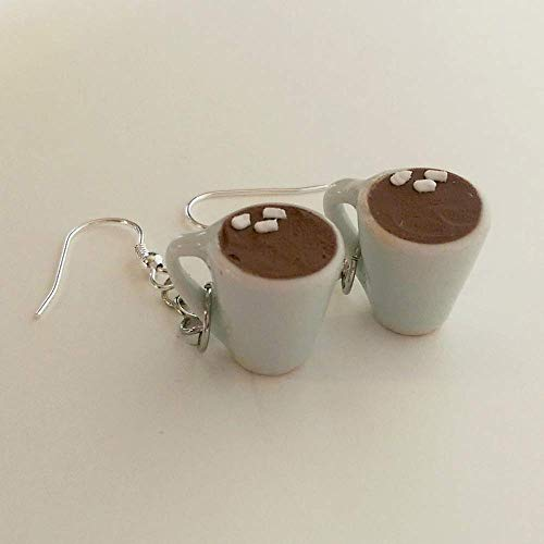 Cocoa Hot Chocolate with Marshmallows Earrings Faux Food Drink Jewelry Halloween Christmas -