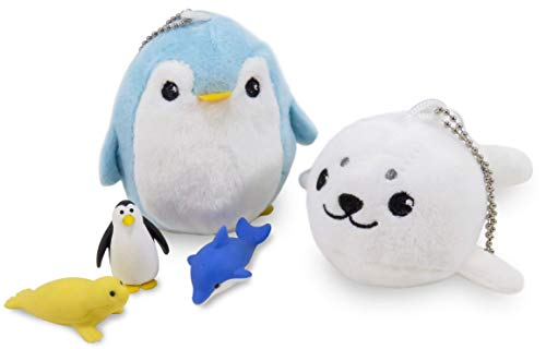 (Daiso Japan Plush Stuffed Animal Penguin Seal Keychain Hanging Toys with (3) Puzzle Mini Erasers Seal Penguin Dolphin (5 Piece)