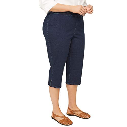 (Symbidium Women's Plus-Size Pull-On Ultra Soft Denim Capri Jean Pbat Rhinestone Accents Dark Wash 1X)