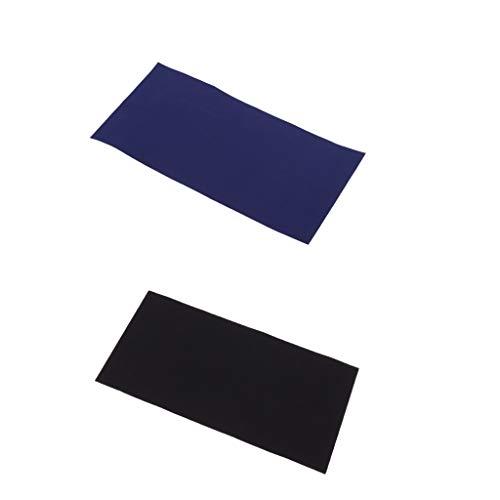 Prettyia 2pcs Clothes Tent Self-Adhesive Repair Patches Mending Tape Umbrella Applique Decor Black + Blue