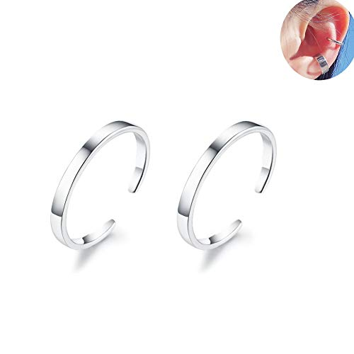IminiJewelry Minimalist Cuff Clip On 925 Sterling Silver Small Hoop Earrings for Women Teen Girls Cartilage Fashion Wrap No Piercing Ear Hypoallergenic (Small Hoop Non Pierced Earrings)