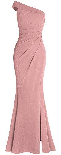 (Fazadess Women's Ruched One Shoulder Side Split Slim Formal Evening Party Dress Pink)