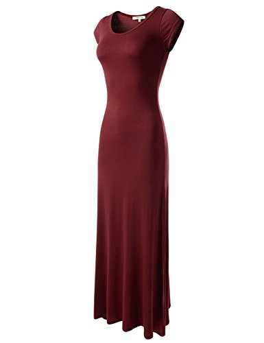 NEARKIN (NKWLD04271 Attractive Women Casual Unbane Figure Hugging Maxi Dress Wine Large(Tag Size XL)