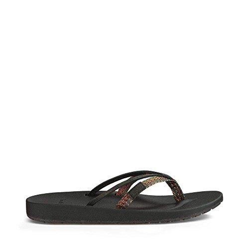 Azure Leather (Teva Women's W Azure 2 Strap Sandal, Black/Multi, 9 M US)